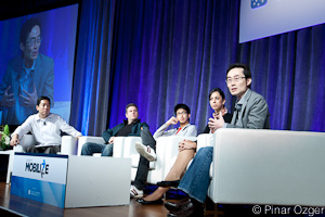 GigaOM's Ryan Kim, Zephrin Lasker of Pontiflex, Brian Wong of Kiip, Keren Zemer of Appsfire , and William Hsu of AT&T at Mobilize 2011