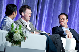 Chetan Sharma of Chetan Sharma Consulting and GigaOM Pro Analyst, Wim Sweldens of Alcatel-Lucent, and Iyad Tarazi of Sprint at Mobilize 2011.