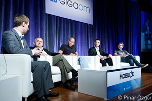 ITR Mobility's Nathan Clevenger, MeLLmo's Santiago Becerra, Rhomobile's Adam Blum, Verizon's Chris Kemmerer, and Salesforce.com's Sean Whiteley at Mobilize 2011.