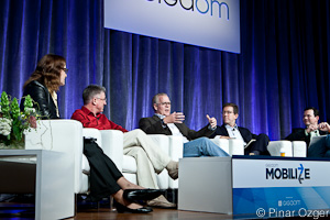 GigaOM Pro Analyst Laurie Lamberth of Lamberth and Associates, PARC's Bo Begole, Meta Watch's Bill Geiser, Vitality's David Rose, and Timothy Twerdahl of WIMM Labs at Mobilize 2011.