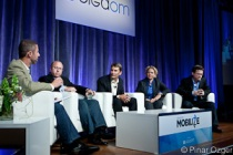 Philippe Winthrop of The Enterprise Mobility Foundation, Chuck Goldman of Apperian, John Herrema of Good Technology, Julie Palen of Tangoe, and Bob Tinker of MobileIron at Mobilize 2011.