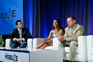 Jonathan Marino of peHUB.com, Maha Ibrahim of Canaan Partners, and Matt Murphy of KPCB at Mobilize 2011.