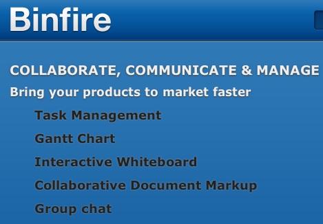 Screen shot of Binfire logo