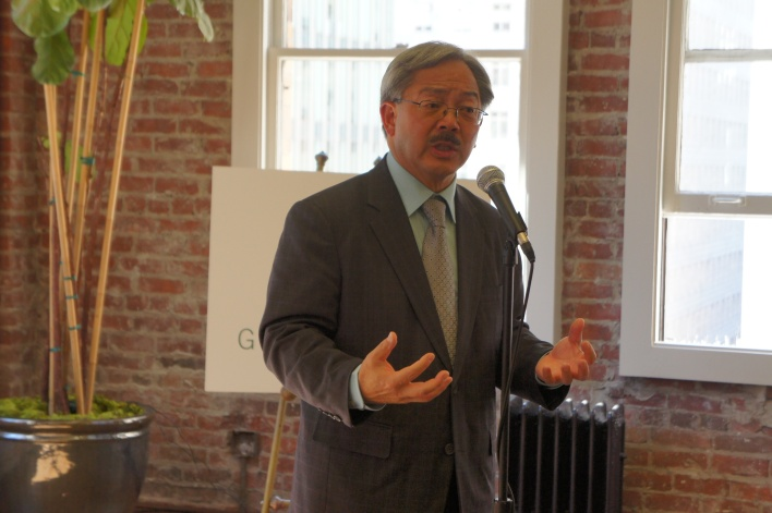San Francisco Mayor Ed Lee gives remarks at the Greenstart event.