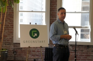 Greenstart founder Mitch Lowe kicks off the opening.