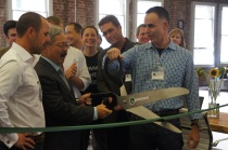 Cutting the ribbon at the Greenstart event