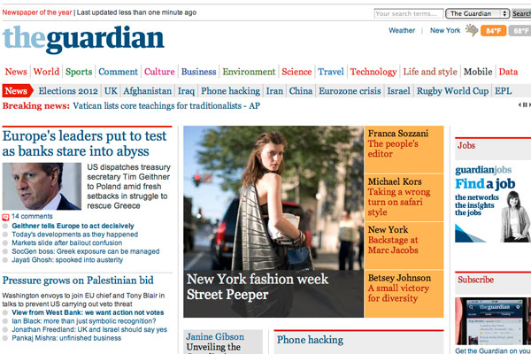 Guardian News.com front page