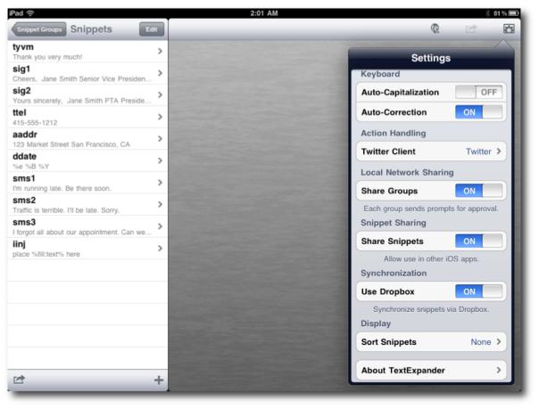 iPad TextExpander Settings