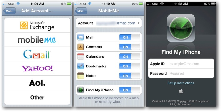 MobileMe Account Setup