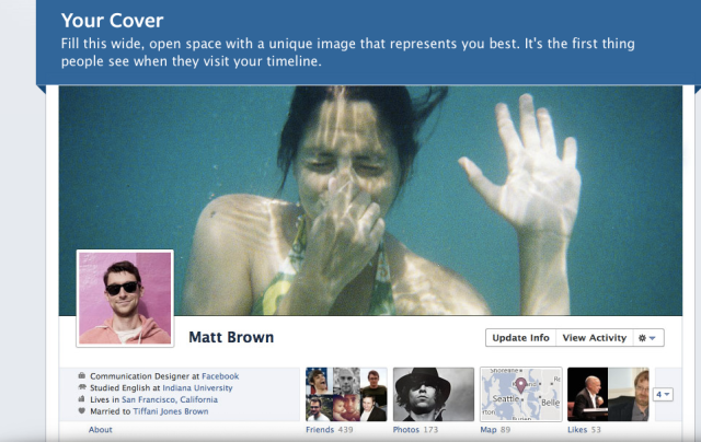 A screenshot of Facebook's Timeline interface (click to enlarge)