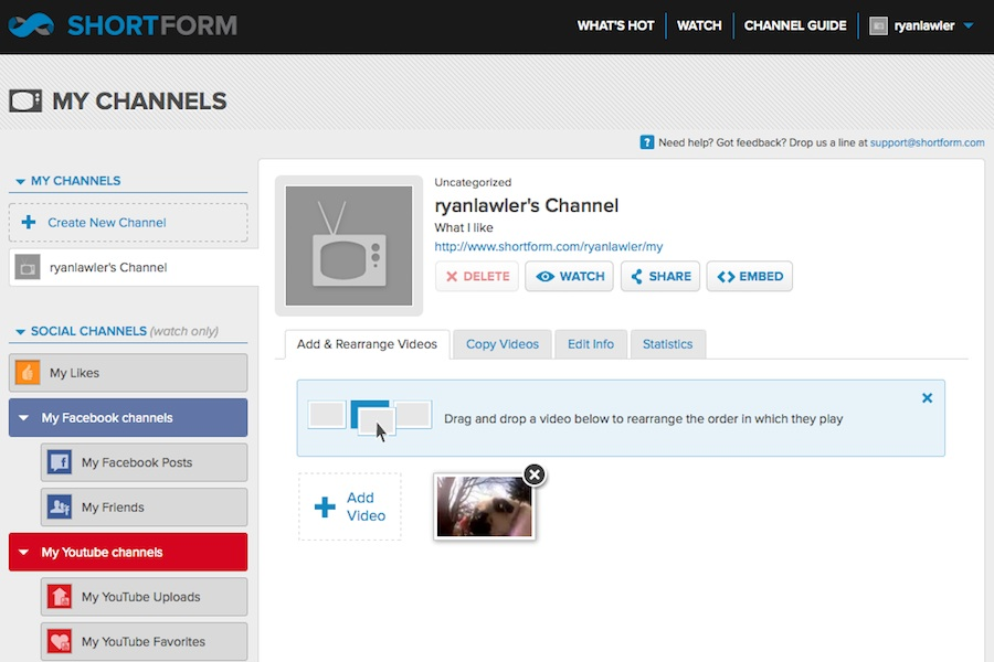 shortform social channels