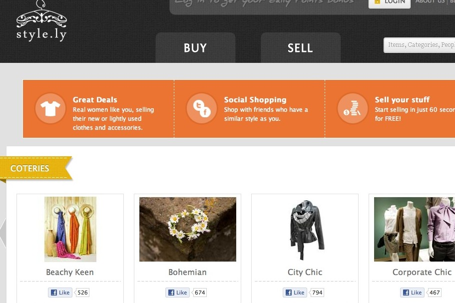 A screenshot of Style.ly's homepage (click to enlarge)