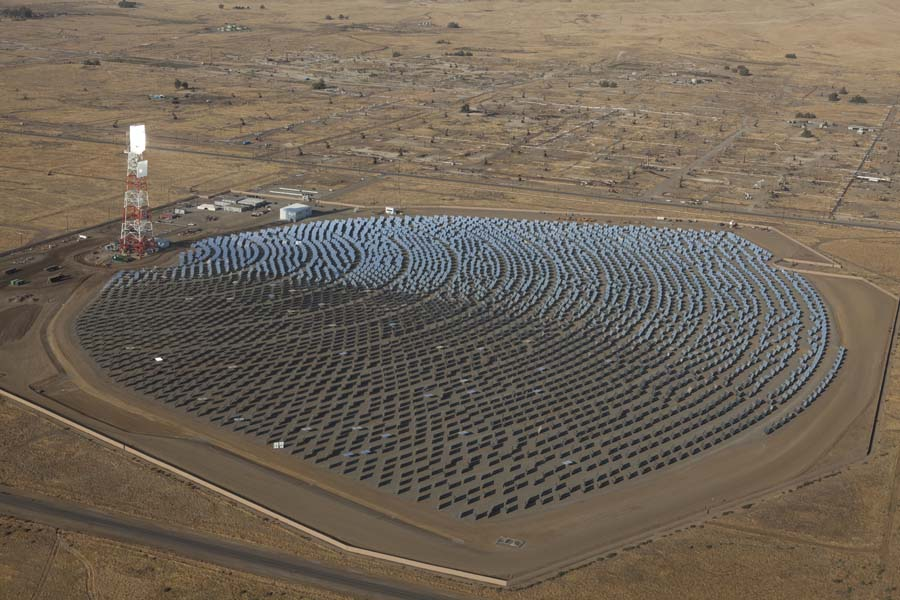Aerial view of Chevron, BrightSource solar oil plant
