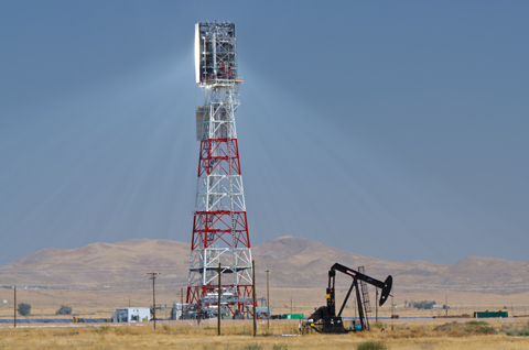 The tower at the Chevron, BrightSource solar oil plant