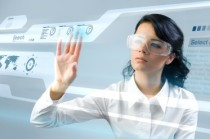 Woman with futuristic data screen