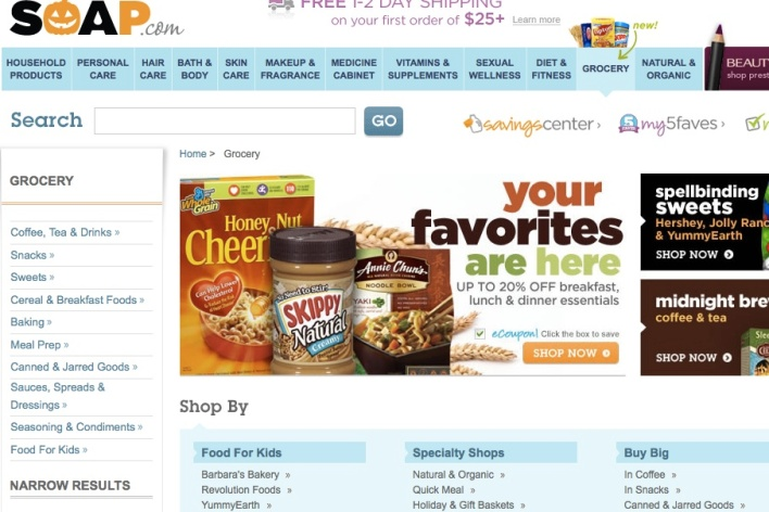 Screenshot of Soap.com's new grocery section (click to enlarge)
