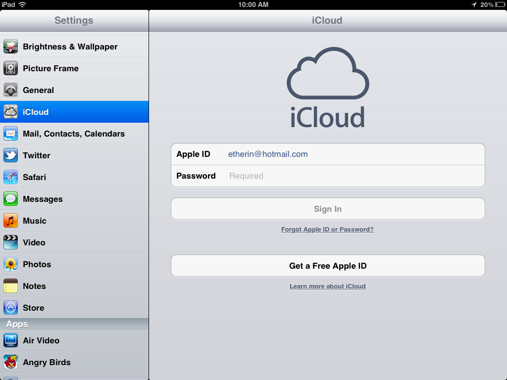Set up icloud account for iphone