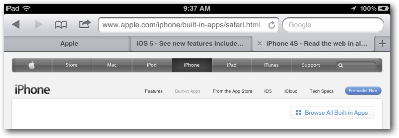 iPad Tabbed Browsing