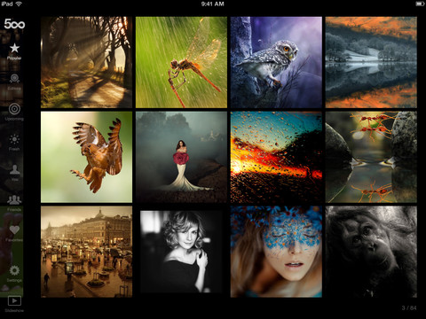 Screenshot of 500px for iPad (click to enlarge)