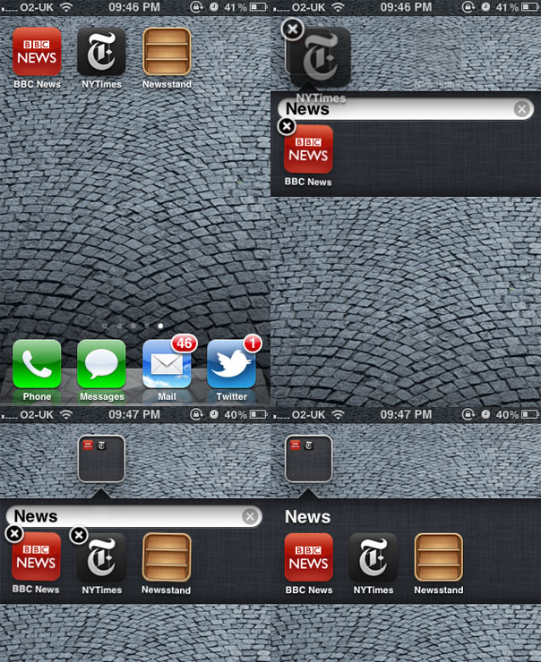 Putting Newsstand In A Folder