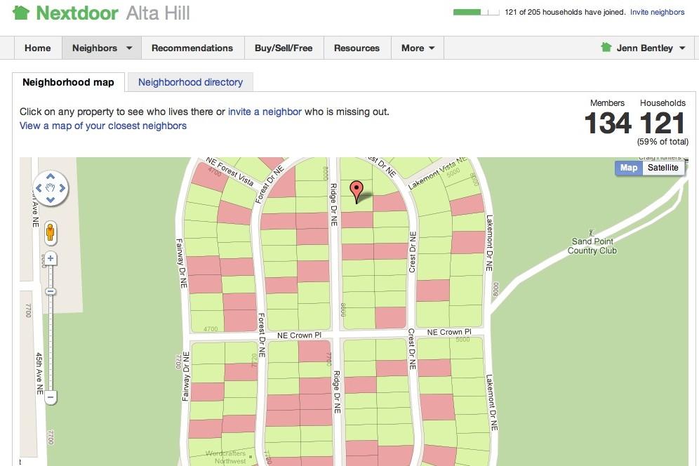 Nextdoor map page