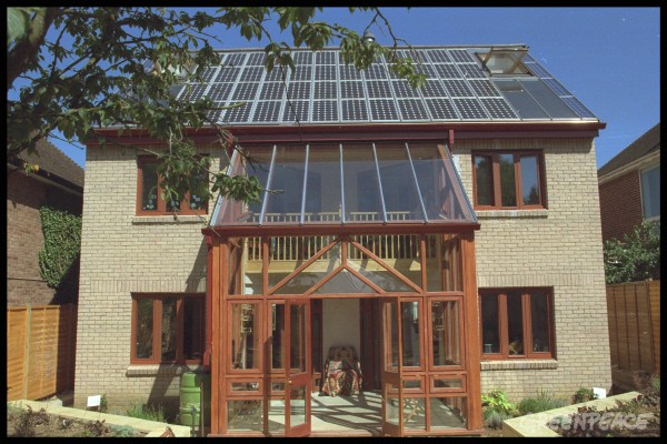 A revolutionary five bedroomed house which generates all of it's electricity requirements through 48 solar panels on the roof.  Solar power does not emit the greenhouse gas CO2 into the atmosphere, nor does it create nuclear waste or radioactivity. Greenp
