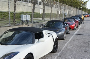 Tesla Roadsters lined up outside of the Model S Beta Customer event