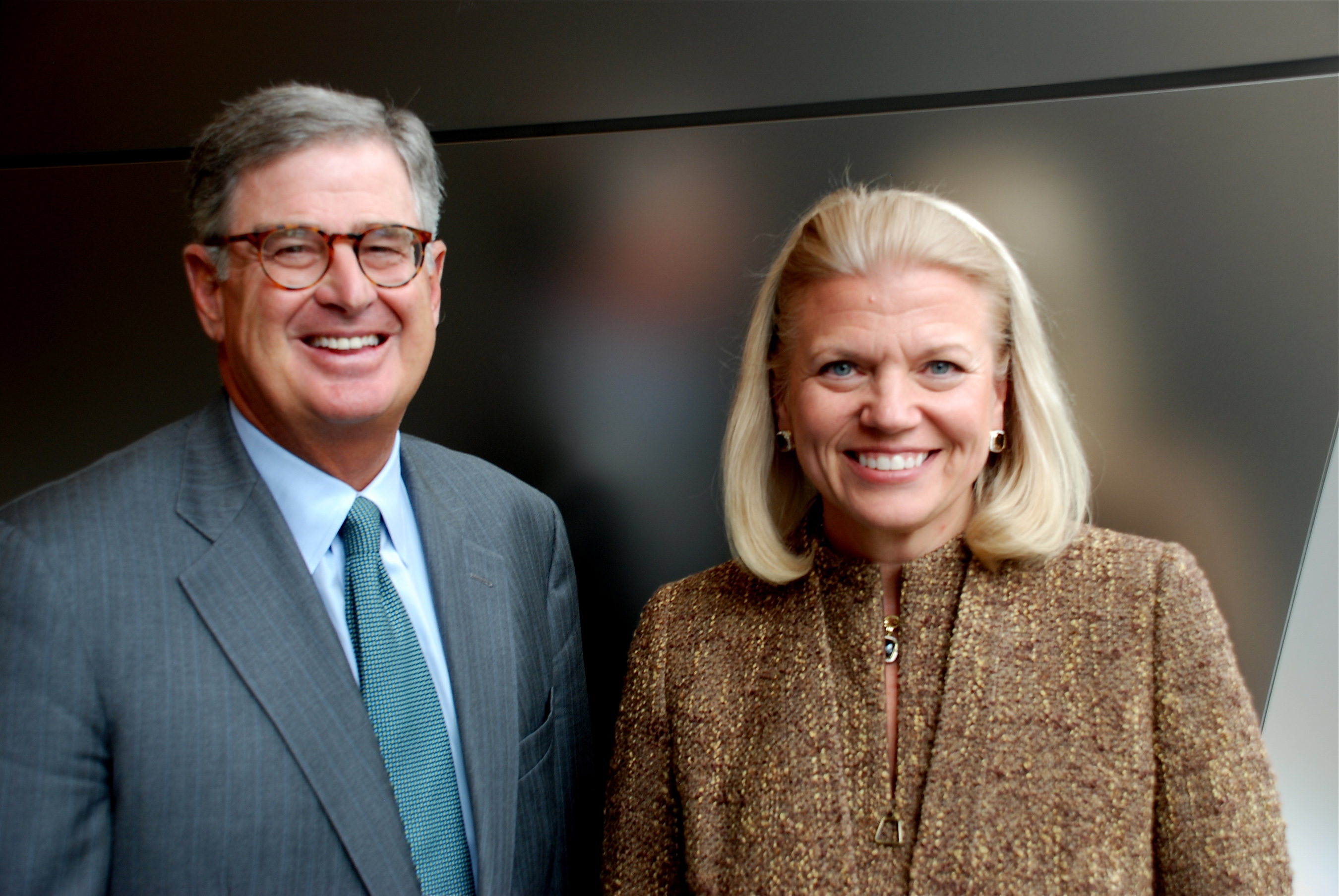 Current IBM CEO Ginni Rometty with her predecessor Sam Palmisano.