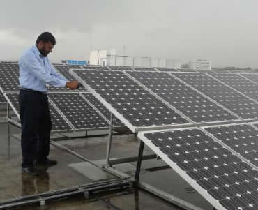Solar panels installed in India.