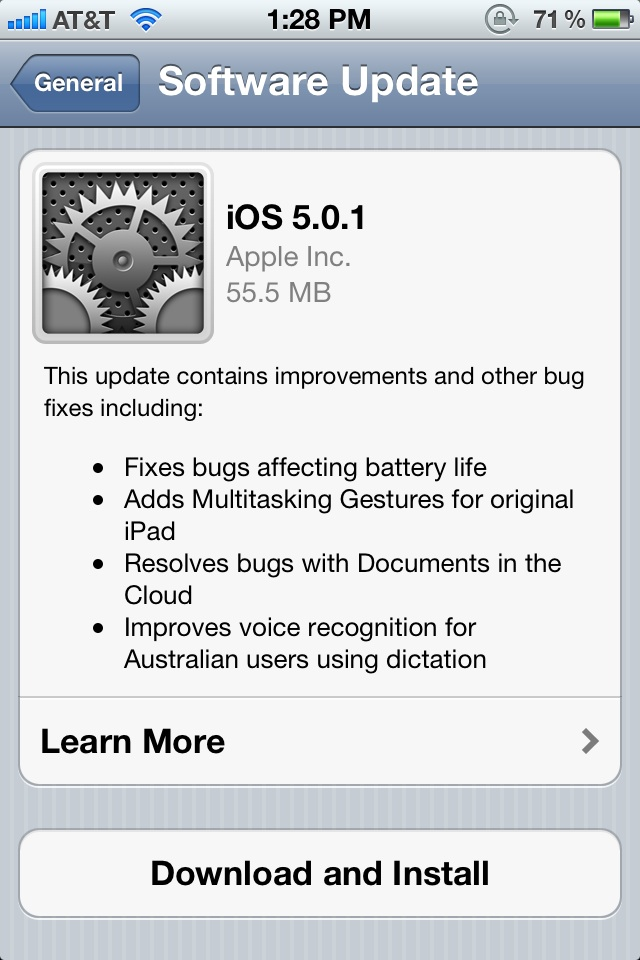 iOS5.0.1update