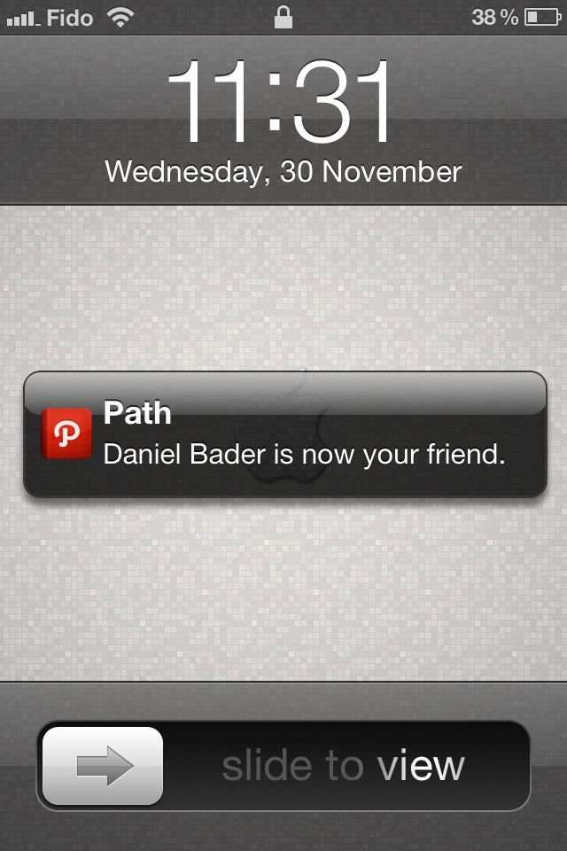 Push notifications tell you when your friends are active on Path.