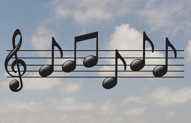 music notes with violin key