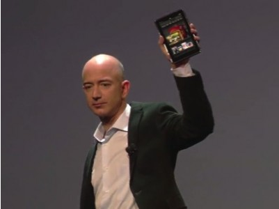 Jeff Bezos with Kindle Fire