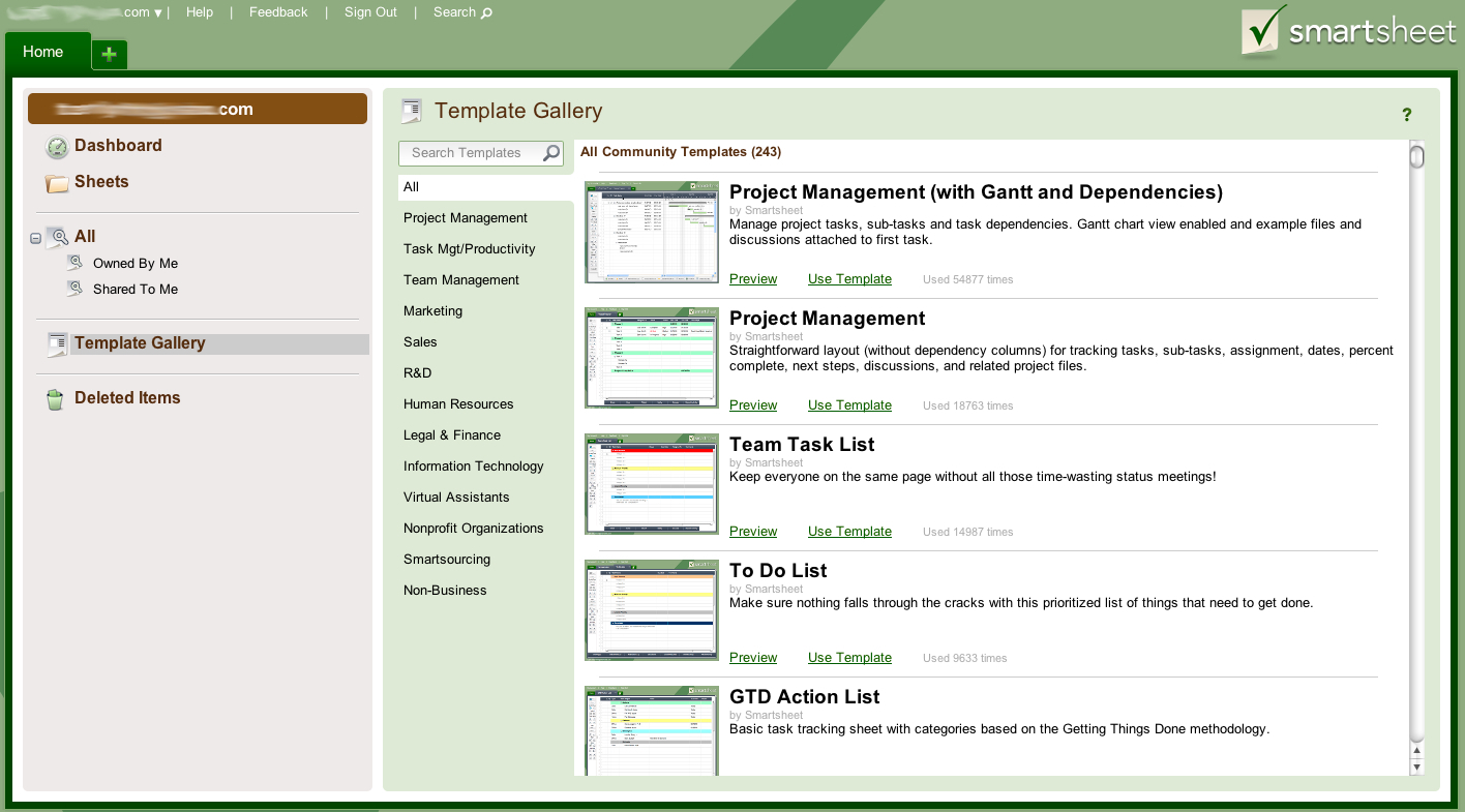 Screen shot of Smartsheet templates