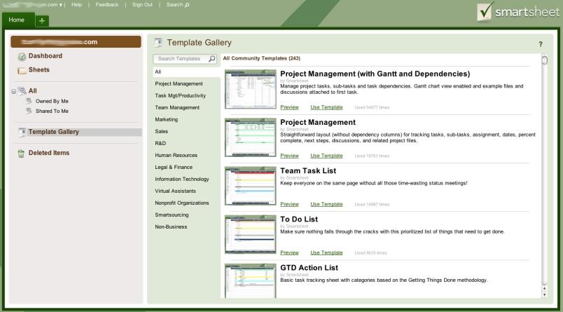 Screen shot of Smartsheet templates