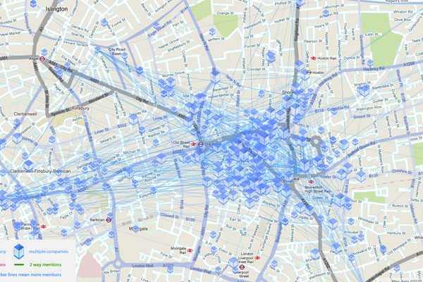 London's Tech City Map -- a list of technology businesses in east London