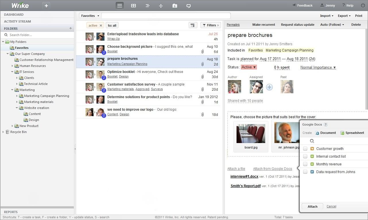 Wrike Workspace + Google docs