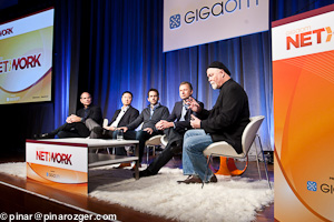 Martin Frid-Nielson of Soonr, Roy Grainger of Mavenlink, Alan Masarek of QuickOffice, Ivan Koon of YouSendIt, and Stowe Boyd, GigaOM Pro analyst at GigaOM's Net:Work 2011