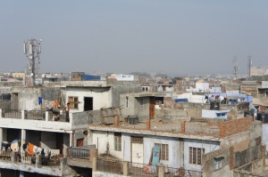Cell phone towers on the sky line of Old Delhi.