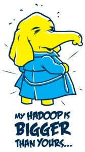 The Cloudera vs. Hortonworks rivalry inspired Hadoop analytics startup Datameer to create a T-shirt bearing this logo.