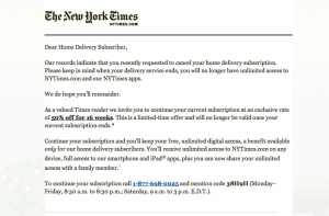 The spam email sent by the New York Times (click to enlarge)