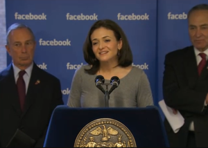 Michael Bloomberg, Sheryl Sandberg, and Charles Schumer at Facebook NYC