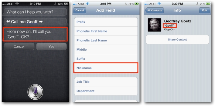 Siri Learns Nickname