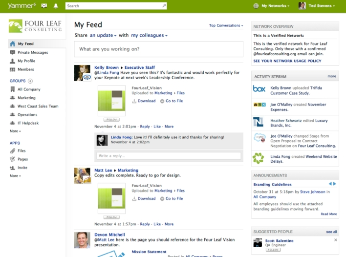 Yammer screen shot