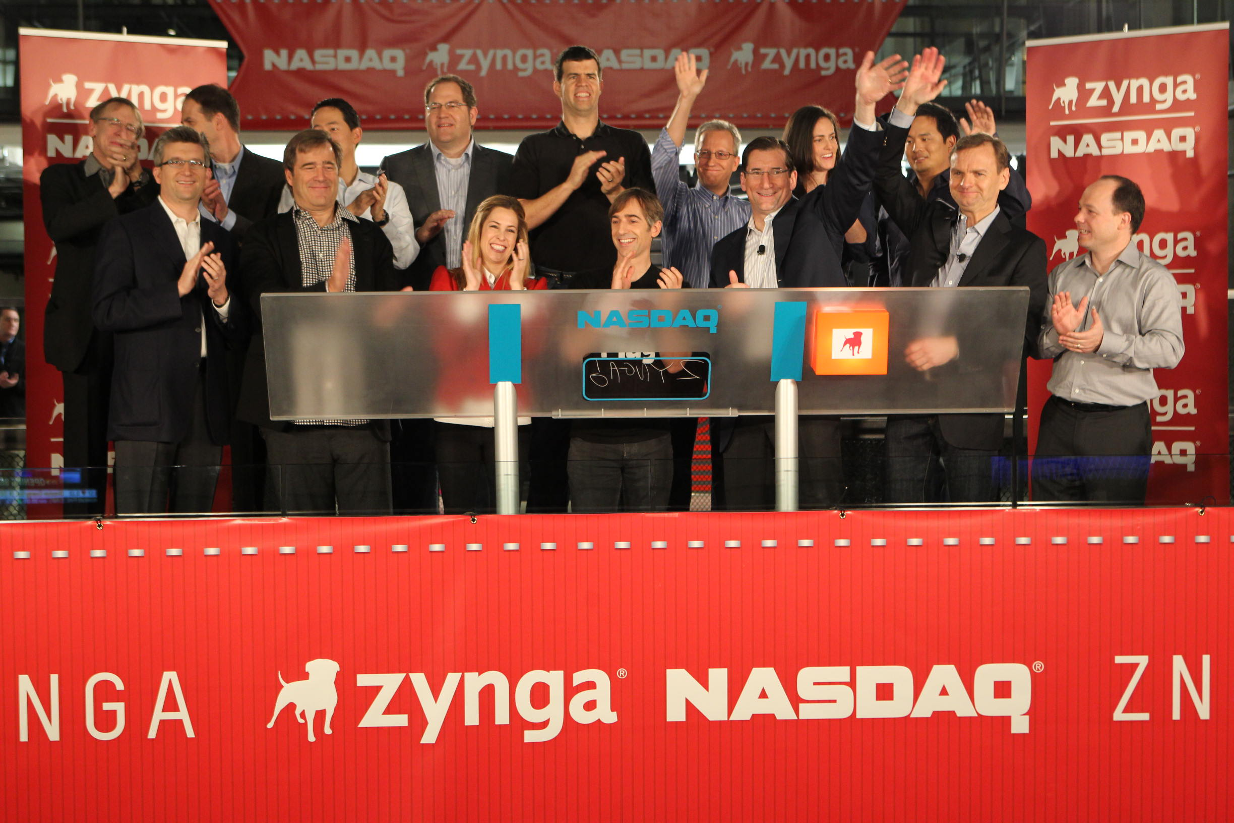 Zynga executives and investors ringing the NASDAQ opening bell