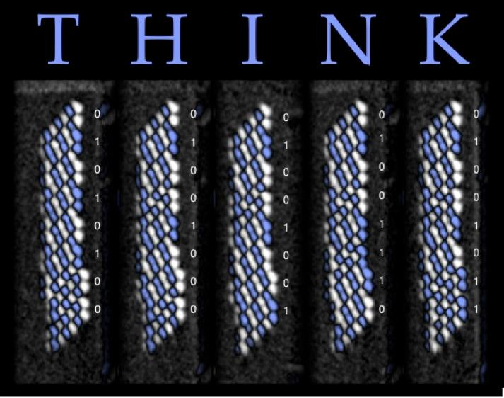 IBM's new memory storing the letters for the word THINK.