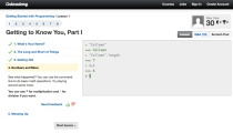 Screenshot of an introductory Codecademy lesson (click to enlarge)