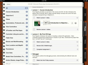 The posts section gives you an outline, complete with in-line access to relevant materials.