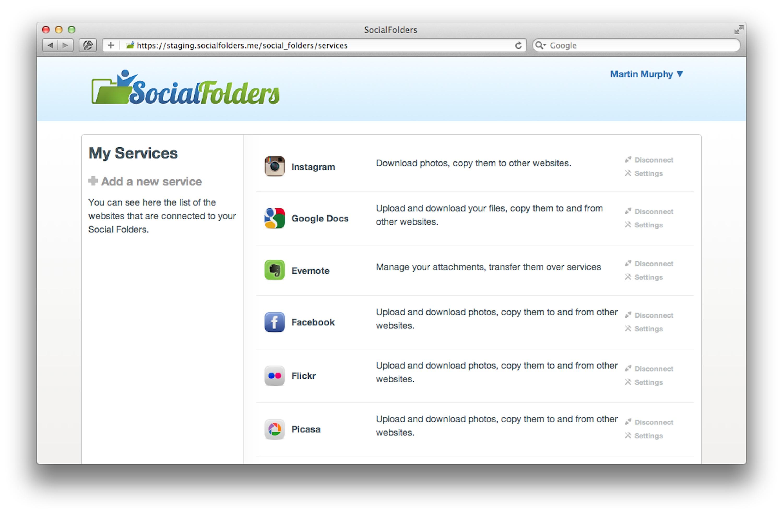 Screenshot of SocialFolders' web app (click to enlarge)
