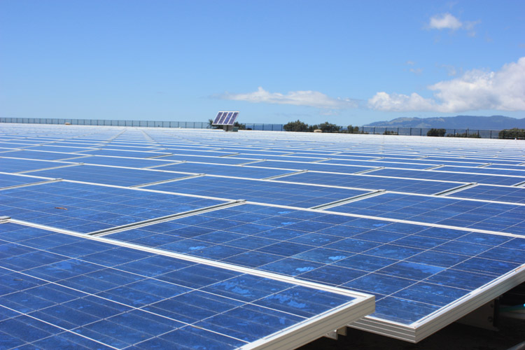 Sunset Resevior with Suntech panels